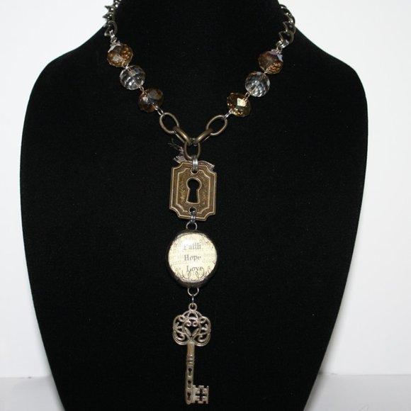 "Bronze Faith Hope Love Key Necklace 29"""